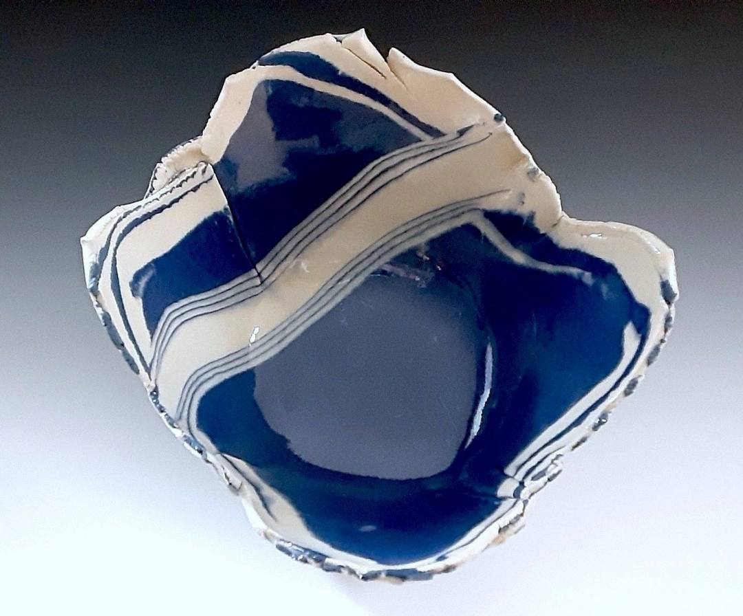 Piece of blue and white pottery artwork