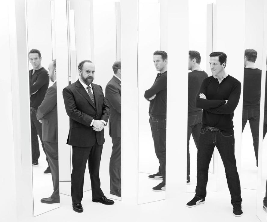 """PR Art for the Showtime original series Billions. - Photo: James Minchin/SHOWTIME - Photo ID: BILLIONS_PRArt_01.R Pictured: Paul Giamatti as Chuck Rhoades and Damian Lewis as Bobby """"Axe"""" Axelrod"""