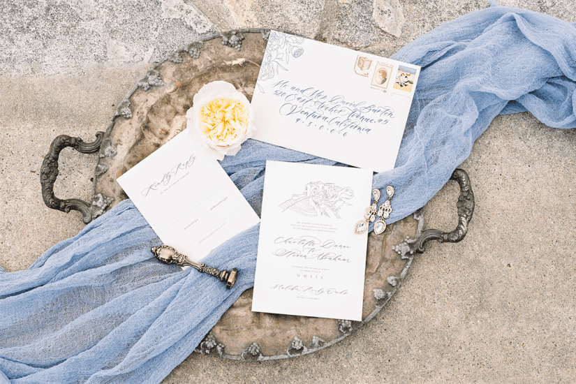 dusty blue vintage wedding details