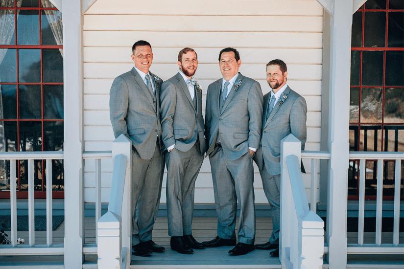 groom and groomsmen in gray suit