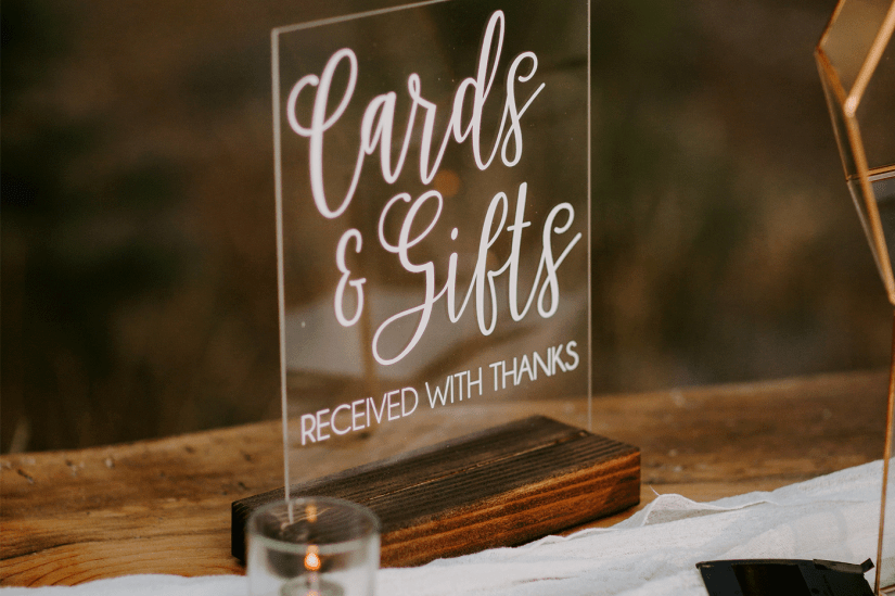 cards and gifts sign for wedding reception