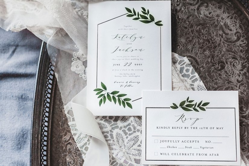 white with greenery wedding invitations