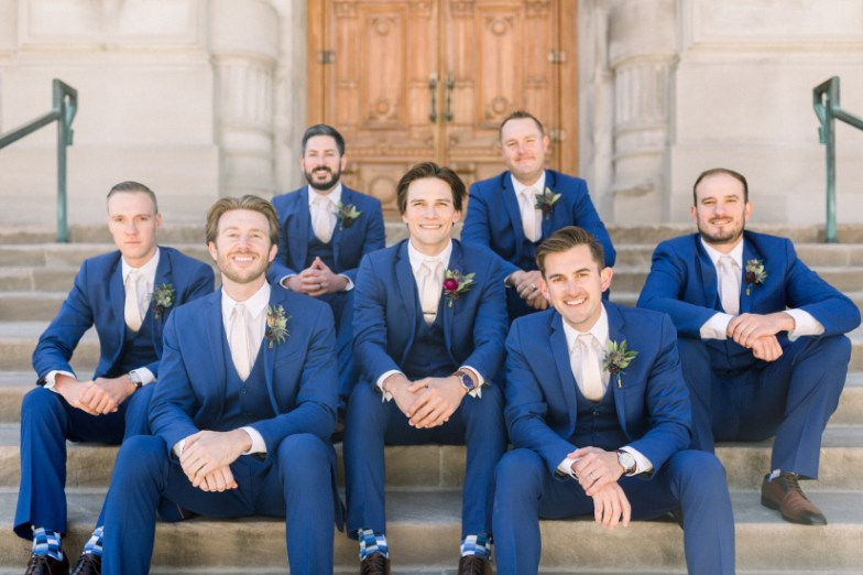 Groomsmen wearing Generation Tux Bright Blue Suit