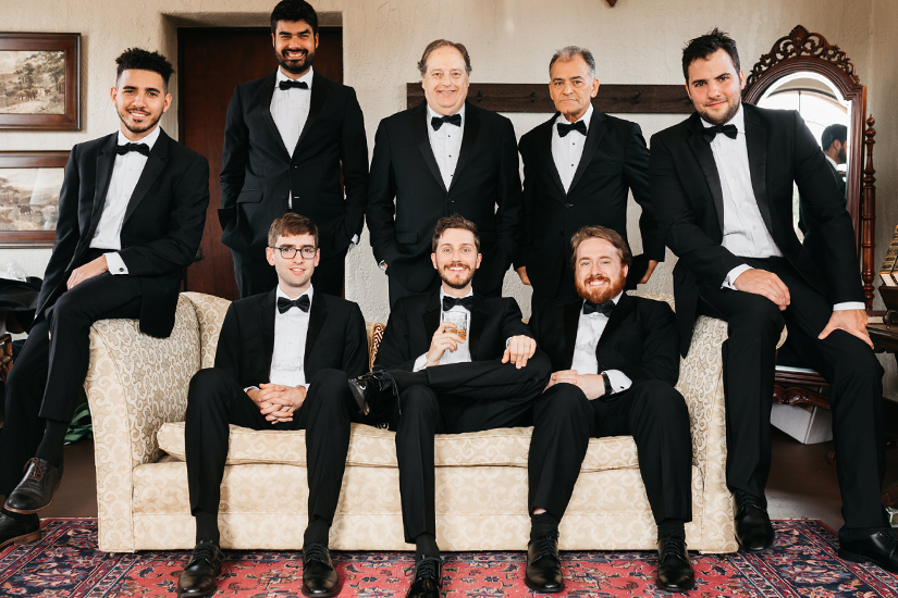Group of Groomsmen in Generation Tux Black Tuxedos