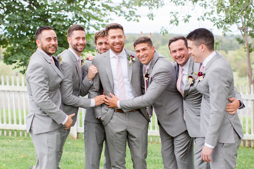 Groomsmen with Groom in Pink Ties