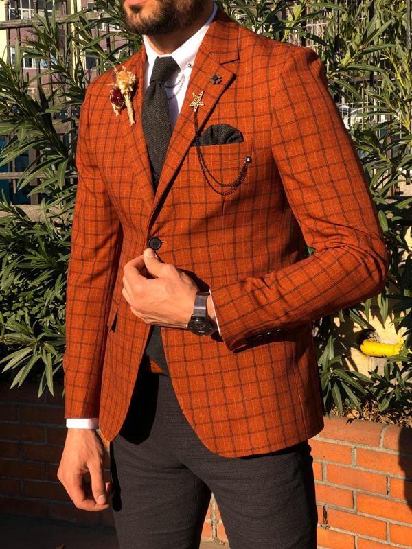 gentwith modesto tile slim fit plaid check suit