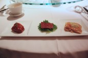 Chef's Signature Appetiser Selection (from R to L) - Roasted Goose with Plum Sauce, Barbecued Suckling Pig, Marinated Fragrant Chicken in Soy Sauce