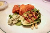 Crisp calf's brains with sauce gribiche, chargrilled spring onions, baby gem, anchovies and radish