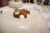 """""""Tomatoes"""" Black Iberico, Raf and Camone with Fresh Curd and Olives"""