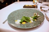 """Hostín"" Green asparagus with hazelnuts, egg yolk and Prague ham"