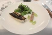 Flamed mackerel and tartare, Goosberries & Buttermilk