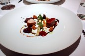 Yorkshire moors roe deer, bbq crapaudine, boudin noir, girolles, spruce oil, salsify with English wasabi, scarlet kale