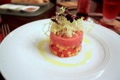 Maguro 1st Grade Tuna Tartare, Cantaloupe melon, Watermelon, Taggiasca Olives and Mint Salad