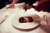 Gianduja panna cotta with macadamia nuts & crispy cacao tuille, vanilla & white truffle ice cream