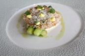 New season asparagus, lemon, Burrata and chamomile