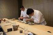 Chefs preparing tuna tataki