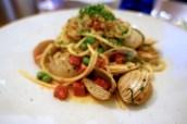 Spaghetti of Surf Clams, Chorizo, Sweet Peas, Lemon and Wild Garlic