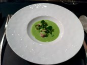 Chilled pea and mint soup