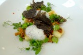 Pan Fried Gnocchi, Peas, Broad Beans, Girolles and Black Truffle