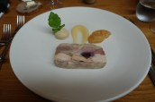 Game terrine with duck parfait, quince, smoked apple and raisin chutney