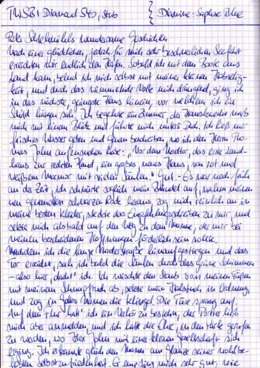 Schreibprobe mit Diamine Saphire Blue Tinte