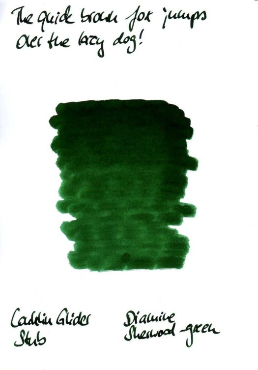 Diamine sherwood green Testkarte Rückseite