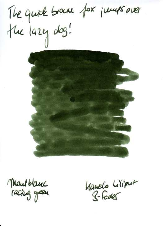 Montblanc racing green Testkarte Rückseite
