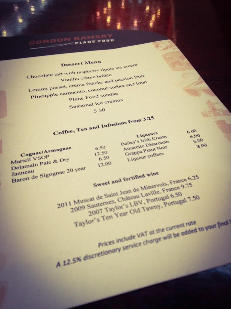 Gordon Ramsey Plane Food dessert menu