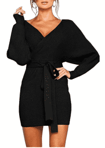 black sweater dress, date night dress