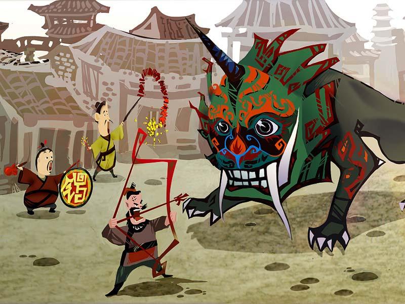 Қытайлықтар Жаңа жылдық жыл сайын Нян есімді құбыжық («жылы»)