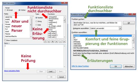 Vergleich Field_Calculator_GISconnector