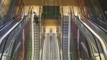 The escalators going down from the first floor. 3 levels!