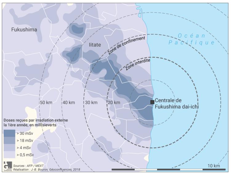 Carte taux de radiation autour de Fukushima
