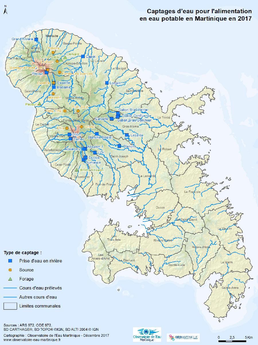 Carte des captages Martinique