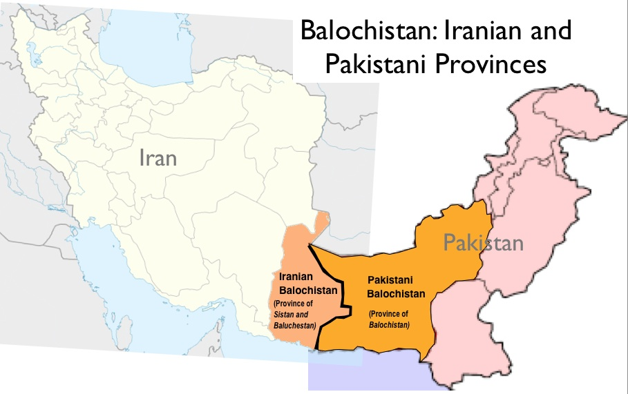 Map of Baloch provinces in Pakistan and Iran