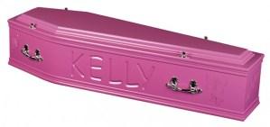 Bright pink coffin