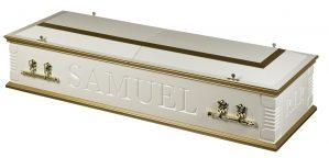 Casket split lid white gold two tone