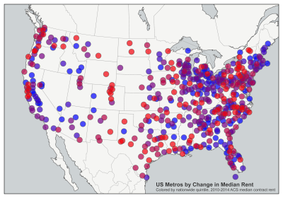Most expensive cities in the US: United States metro areas by percent increase in median rent between 2010 and 2014