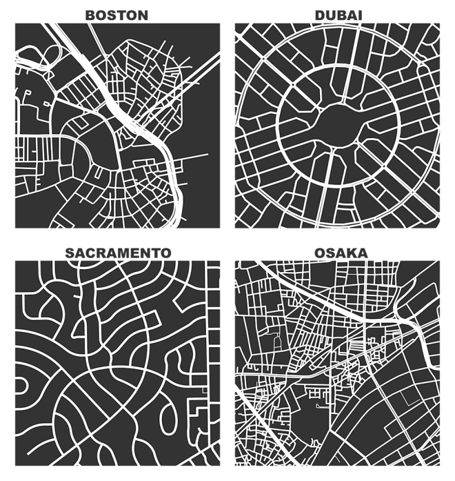 OSMnx: Figure-ground diagrams of one square mile of Boston Massachusetts, Dubai UAE, Sacramento California, and Osaka Japan shows the street network, urban form, and urban design in these cities with Python in the style of Allan Jacobs Great Streets and Nolli maps