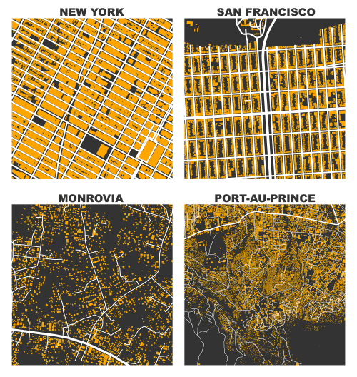 Figure-ground diagrams of building footprints and street network in New York, San Francisco, Monrovia, and Port au Prince from OpenStreetMap data. Maps created in Python with OSMnx and matplotlib.
