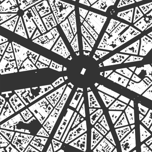 Nolli map, figure-ground diagram of building footprints and urban form in Paris, France from OpenStreetMap data created in Python with OSMnx