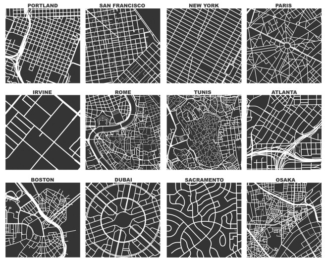 OSMnx: Figure-ground diagrams of one square mile of each street network, from OpenStreetMap, made in Python with matplotlib, geopandas, and NetworkX