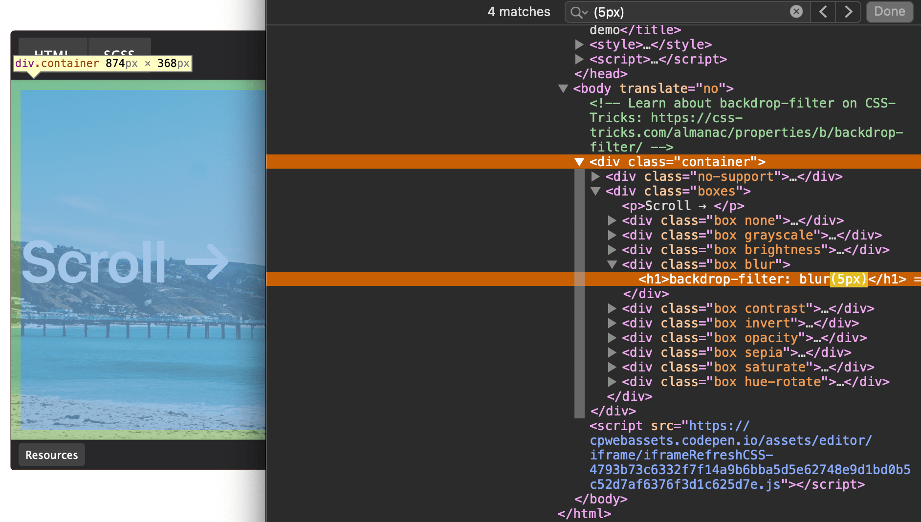 A screenshot of the embedded iframe with Safari's developer tools open to the right of it. A line of code is highlighted in the developer tools showing the heading 1 element that contains the content being pulled into the search engine results.