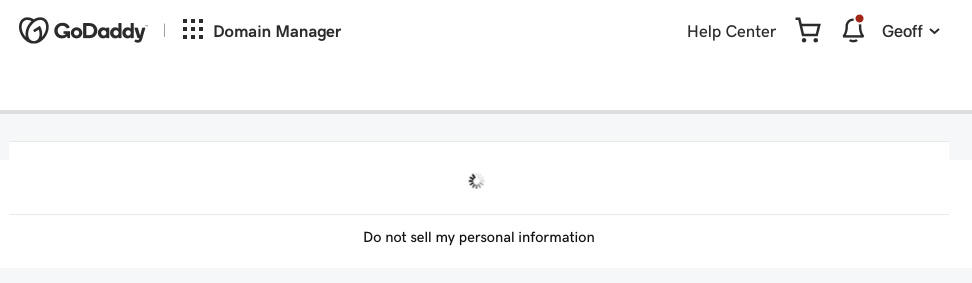 Screenshot of the GoDaddy domain manager screen loading. There is a loading icon above text that says Do not sell my personal information.
