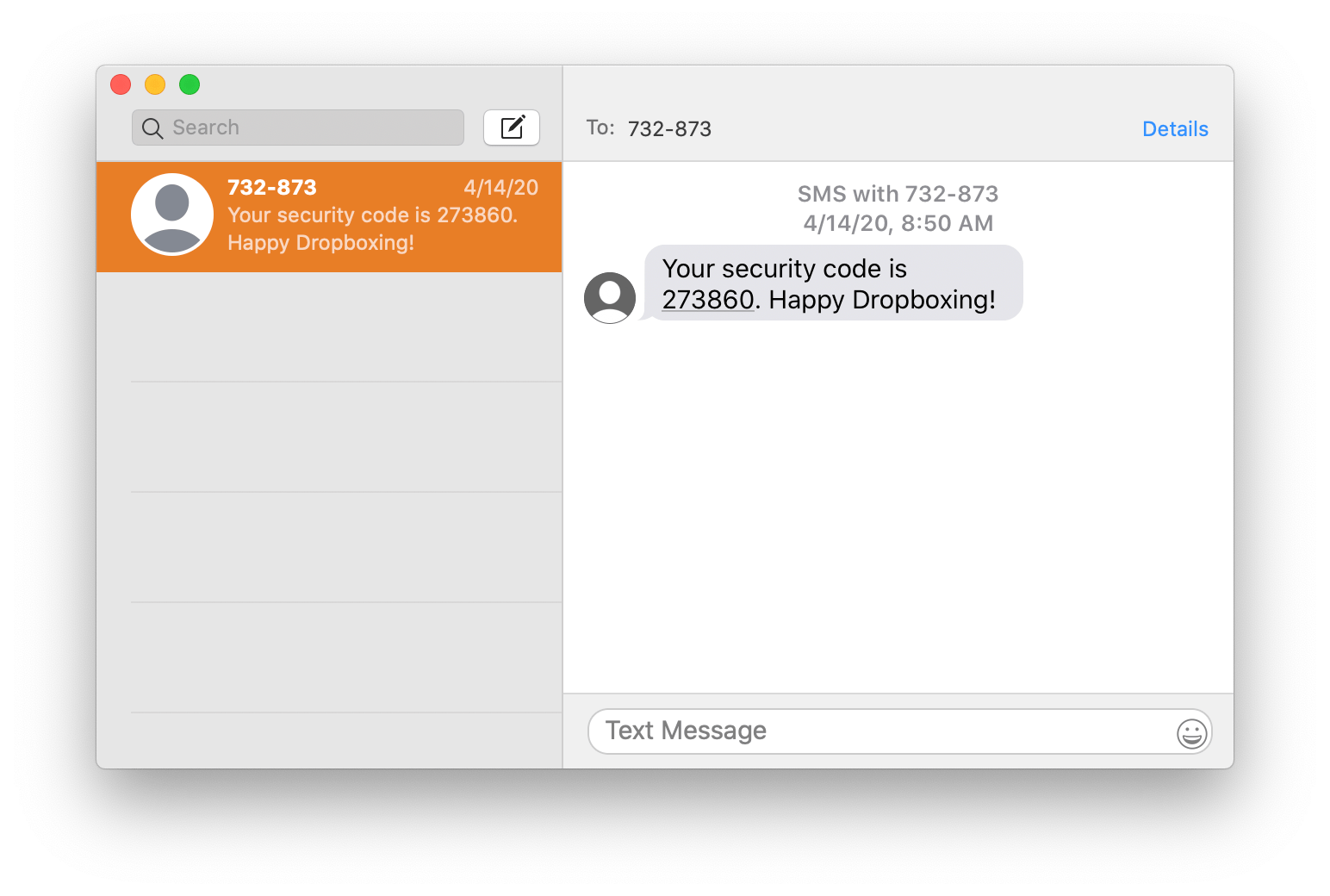 Screenshot of the Apple Messages desktop app with a message from Dropbox containing a six-digit code to log in.