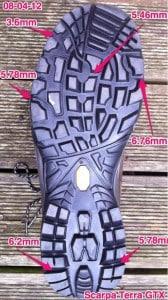 Scarpa GTX sole measurements