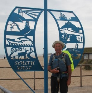 Geoff at the end of The South West Coast Path