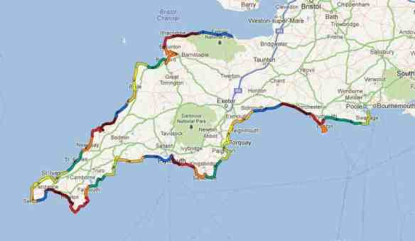 My route on the South West Coast Path