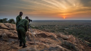 Wildlife Works Rangers enjoy a sunrise.