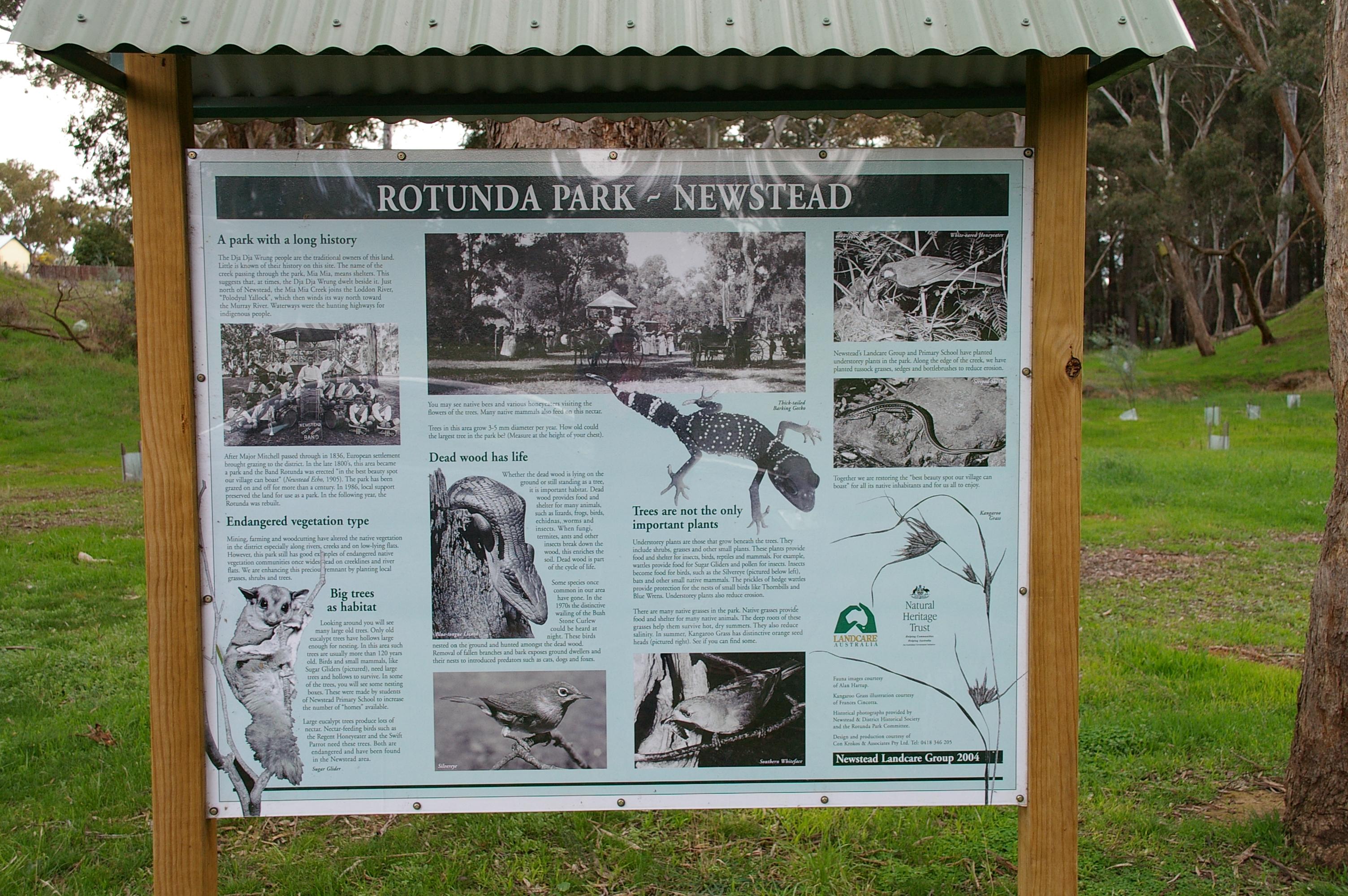 Interpretive signage at Rotunda Park Newstead